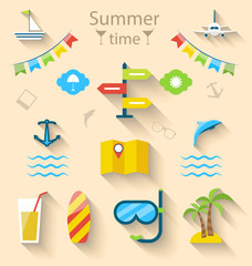 Flat colorful set icons of travel on holiday journey, tourism ob