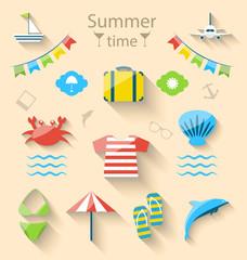 Flat Modern Design Set Icons of Travel on Holiday Journey, Touri