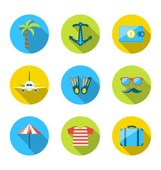 Set flat icons of traveling, tourism and journey objects, modern