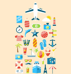 Flat modern design set icons of travel on holiday journey, touri