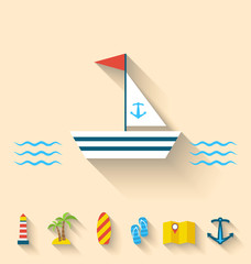 Flat set icons of cruise holidays and journey vacation, simple s