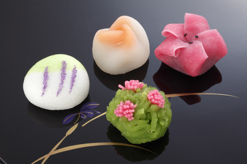 "Japanese traditional confectionery cake"" wagashi"" on plate"