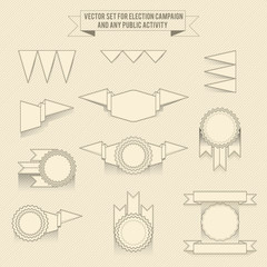 set of vector linear monochrome elements for corporation design