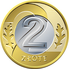 reverse Polish Money two zloty coin