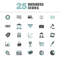 Business Economic FInancial Saving Growth Icon Set Concept