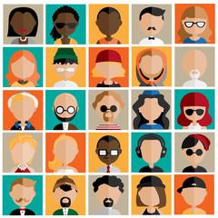Diversity Interracial Community People Flat Design Icons Concept