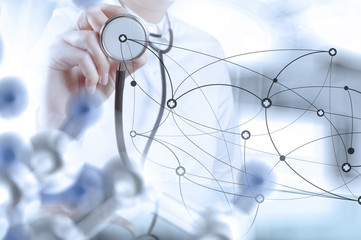 smart medical doctor hand drawing network with operating room as