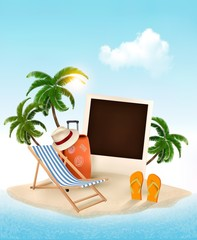 Beach with a palm tree, photo and a beach chair. Summer vacation