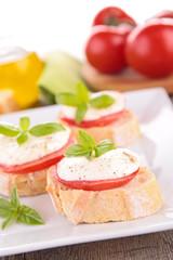 bread with tomato and mozzarella