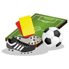 Soccer Field and Ball Vector Illustration