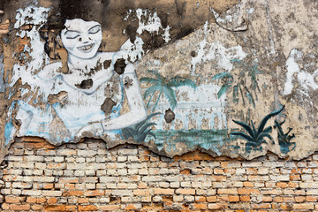 street art painting on the old brick wall at Chanthaburi, Thaila