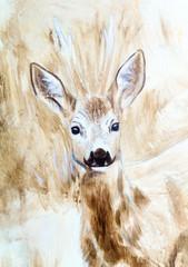 deer head sepia painting sketch
