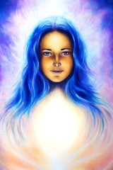 woman goddess with long blue hair and white light, spiritual