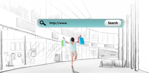 Composite image of happy brunette with shopping bags