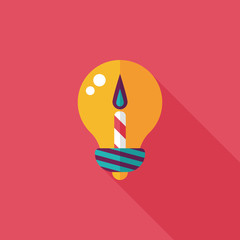 birthday candle flat icon with long shadow,eps10