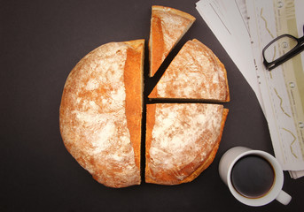 Bread pie chart on office table