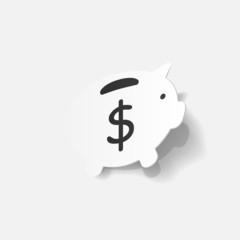 Paper clipped sticker: Piggy bank
