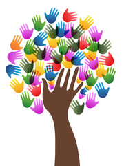 Isolated diversity hands tree background