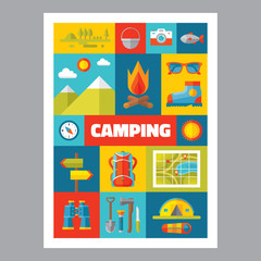 Camping - mosaic poster with icons in flat design style. Vector icons set.