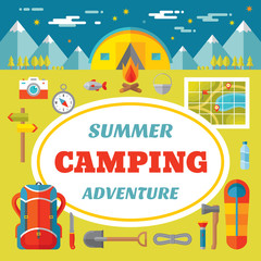 Summer camping adventure - creative vector banner in flat style