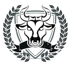 Grunge bull head emblem
