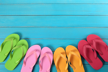 Flip flops with blue decking