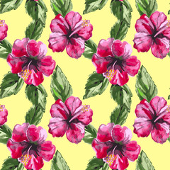 Beautiful seamless floral pattern background with watercolor