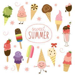 vector illustration, Ice Cream, sweet collection