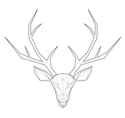 Horned deer. Low polygon linear vector illustration