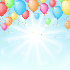 Sunny background with color balloons
