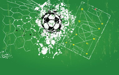 grungy soccer ball, vector illustration, free copy space