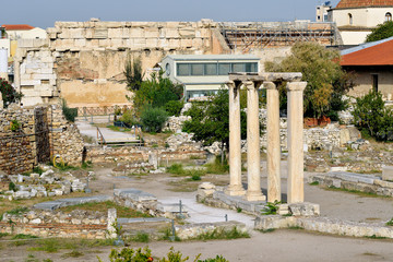 Ancient Hadrian library in Athens