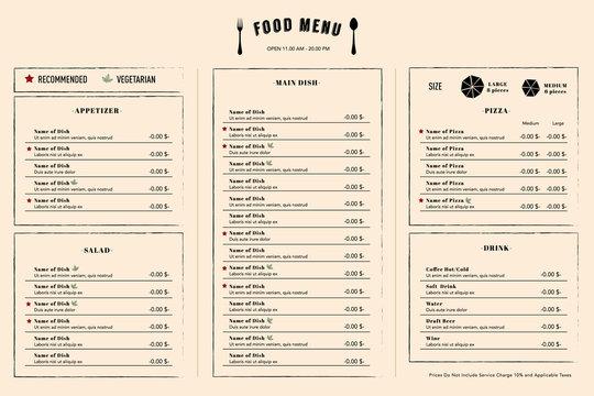 Restaurant Menu Design Template layout with logo