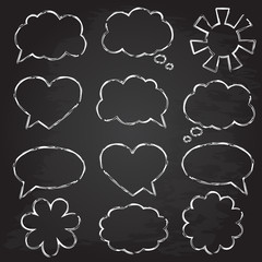Set of speech bubbles. Chalk design.