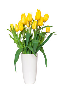 Bouquet of yellow tulips in a vase