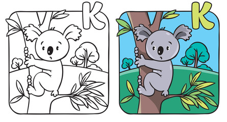 Coloring book with funny koala. Alphabet K