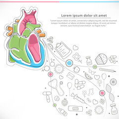 Human heart and various elements for Health and Medical concept.
