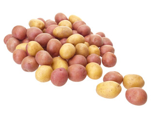 Little red and yellow patatoes mixed on white background