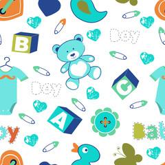 Colorful baby boy seamless pattern