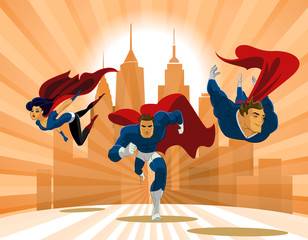 Superhero Team; Team of superheroes, flying and running in front