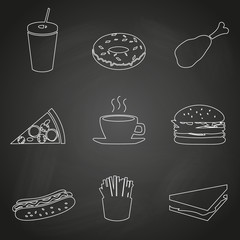fast food restaurant outline icons on black board eps10