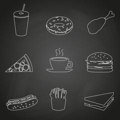 fast food restaurant outline icons on black board eps10