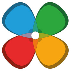 Four Basic Colors Cloverleaf Flower