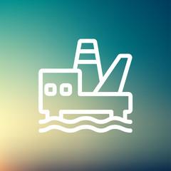 Oil platform thin line icon