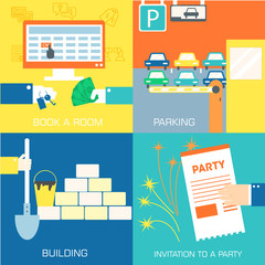 set of flat communication concepts. Vector background design in