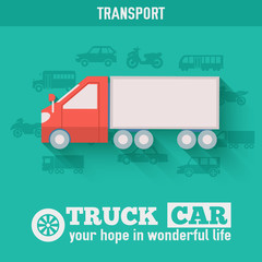 Flat truck car background illustration concept