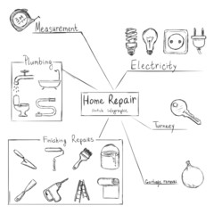 Vector Sketch Home Repair Infographic