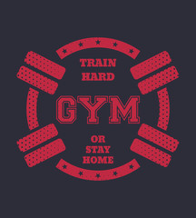 115e5bc49 Round grunge gym t-shirt design with barbells, vector, eps10 - Buy ...