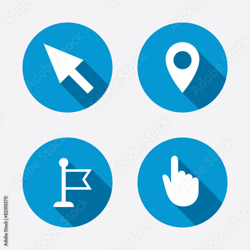 Mouse Cursor Icon Hand Or Flag Pointer Symbols Stock Image And
