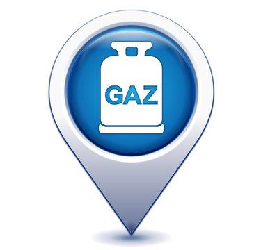 bouteille de gaz sur marqueur géolocalisation bleu